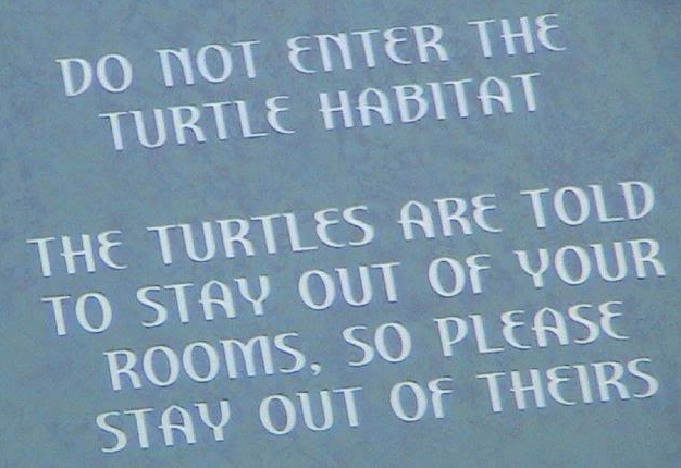 Atlantis Turtle Habitat Funny Sign